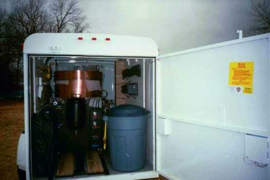 Ye Olde Kettle Cooker - Trailer Package, showing back door open